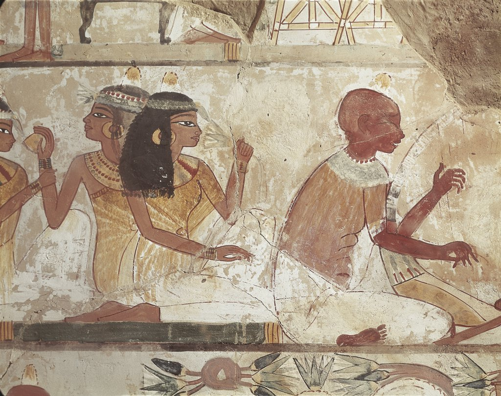 Egypt - Ancient Thebes (UNESCO World Heritage List, 1979). Shaykh 'Abd al-Qurnah (Abd el-Qurna). Tomb of Nakht. Mural paintings. Blind performer at arched harp. 13th-19th Dynasties, 16th-13th century BC : Stock Photo