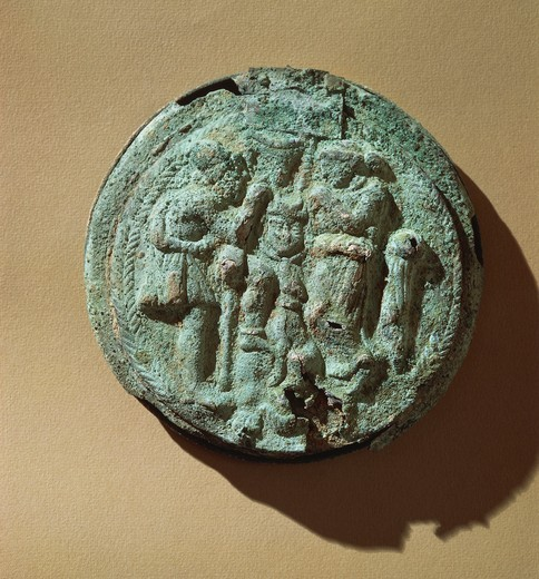 Etruscan civilization, Embossed bronze mirror casket depicting Ulysses, Penelope and dog Argus. : Stock Photo