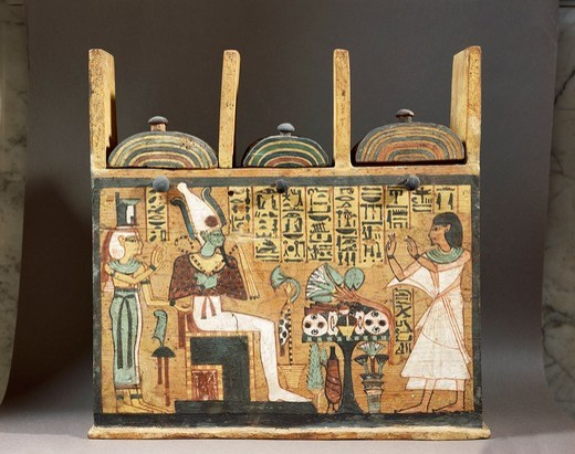 Painted wood shabti box depicting the deceased before Osiris, circa 1000 B.C. New Kingdom. : Stock Photo