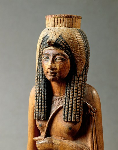 Wooden statue of Ahmes Nefertari, wife of Amenhotep I, from Deir el-Medina, detail, the bust, New Kingdom, Dynasty XIX : Stock Photo