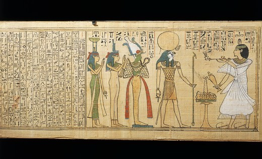 Stock Photo: 1788-17419 Papyrus of Khonsumes, The Book of the Dead the deceased making offerings to Osiris, Isis and Nephthys, Third Intermediate Period