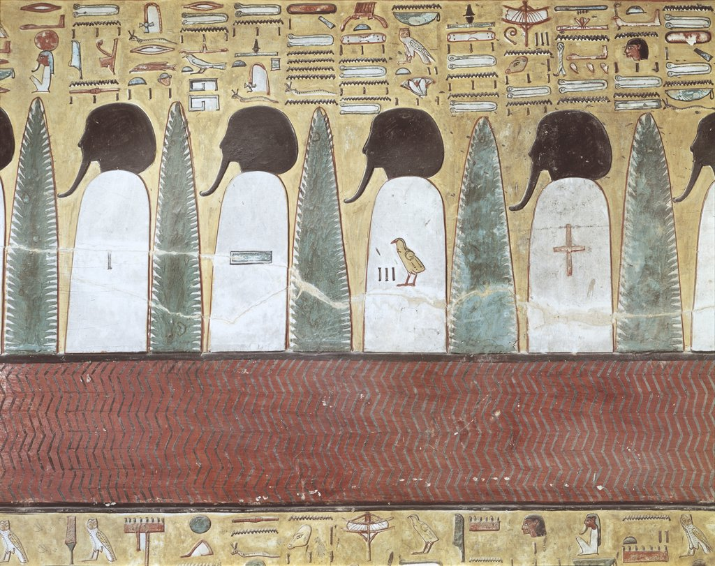 Egypt - Ancient Thebes (UNESCO World Heritage List, 1979). Valley of the Kings. Tomb of Seti I. Mural painting, gods of the underworld : Stock Photo