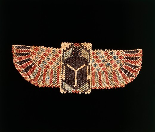Ceramic bead pectoral in form of a winged scarab, New Kingdom, Dynasty XXVI : Stock Photo