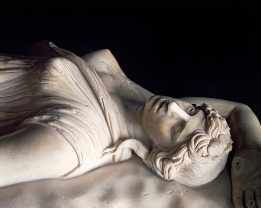 Marble statue of dead Amazon, Roman copy of Pergamon school original : Stock Photo