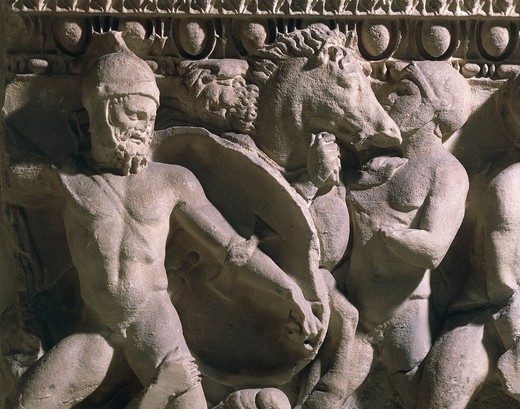 Relief depicting battle between Greeks and Trojans, from Monastery of Santa Giulia, Brescia, Italy : Stock Photo