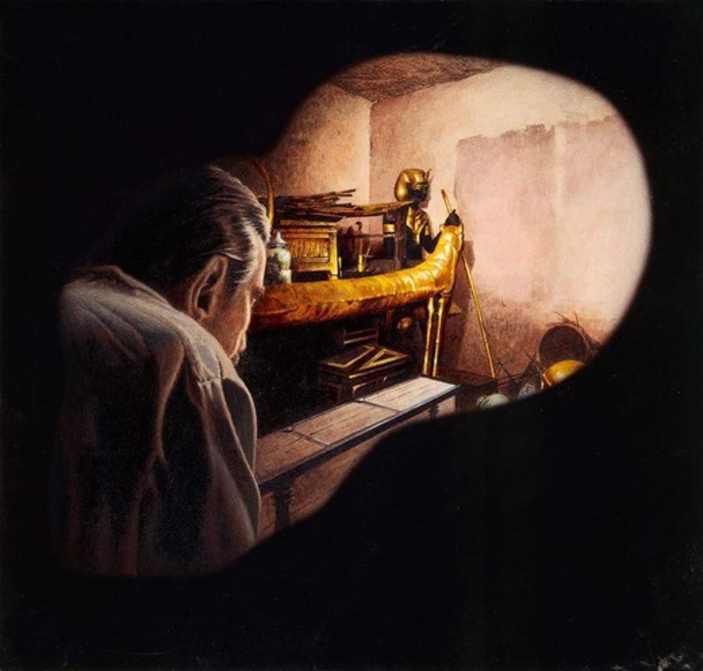 Stock Photo: 1788-17505 Egypt, Howard Carter enters burial chamber at Tutankhamens tomb, illustration
