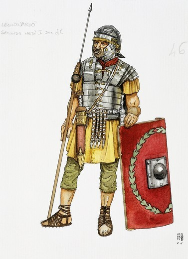 Roman auxiliary military, infantry, drawing : Stock Photo