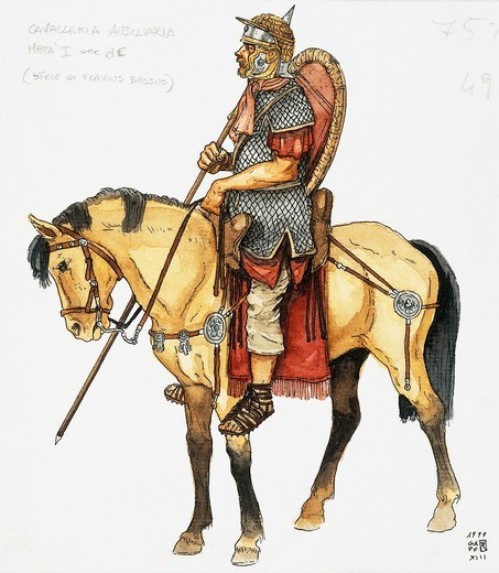 Stock Photo: 1788-17533 Roman auxiliary military, cavalry, mid 1st century, drawing
