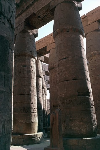 Stock Photo: 1788-17677 Egypt, Luxor, Karnak, Great Temple of Amon, Great hypostyle hall columns with papyrus bud shaped capitals