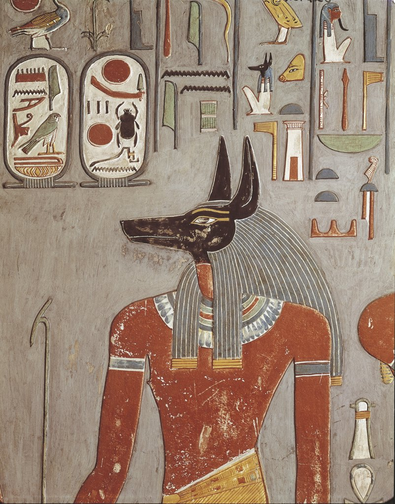 Stock Photo: 1788-1768 Egypt - Ancient Thebes (UNESCO World Heritage List, 1979). Necropolis at Shaykh 'Abd al-Qurnah (Abd el-Qurna). Tomb of Horemheb. Jackal head god Anubis