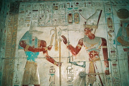 Egypt, Abydos, Temple of pharaoh Seti I, Osiris chapel. Detail, painted relief, New Kingdom, Dynasty XIX : Stock Photo