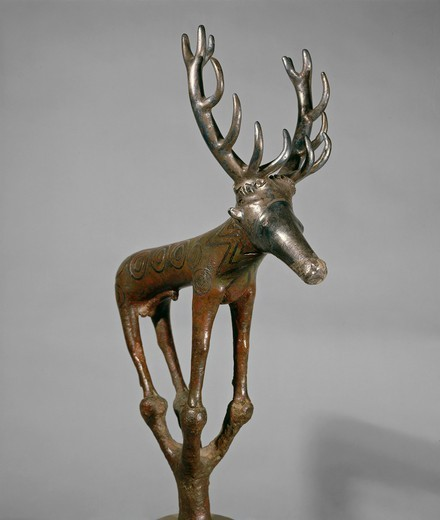 Stock Photo: 1788-17831 Bronze and silver zoomorphic standard in shape of deer, from Alaca Hoyuk, Turkey