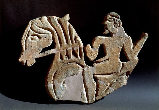 Carved acroterion with knight figure, from first palace of Murlo, Tuscany region, Italy : Stock Photo