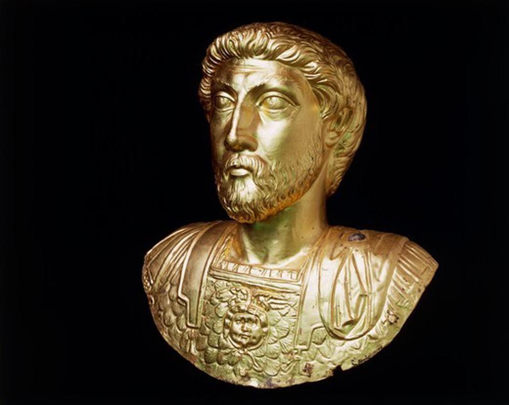 Stock Photo: 1788-17892 Gold bust of Emperor Marcus Aurelius