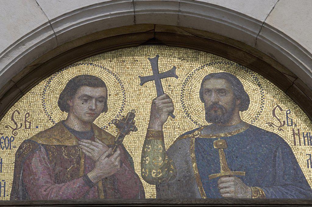 Bulgaria - Sofia.  St. Alexander Nevsky Cathedral (architect Alexander Pomerantsev, 1882-1912). Lunette mosaic : Stock Photo
