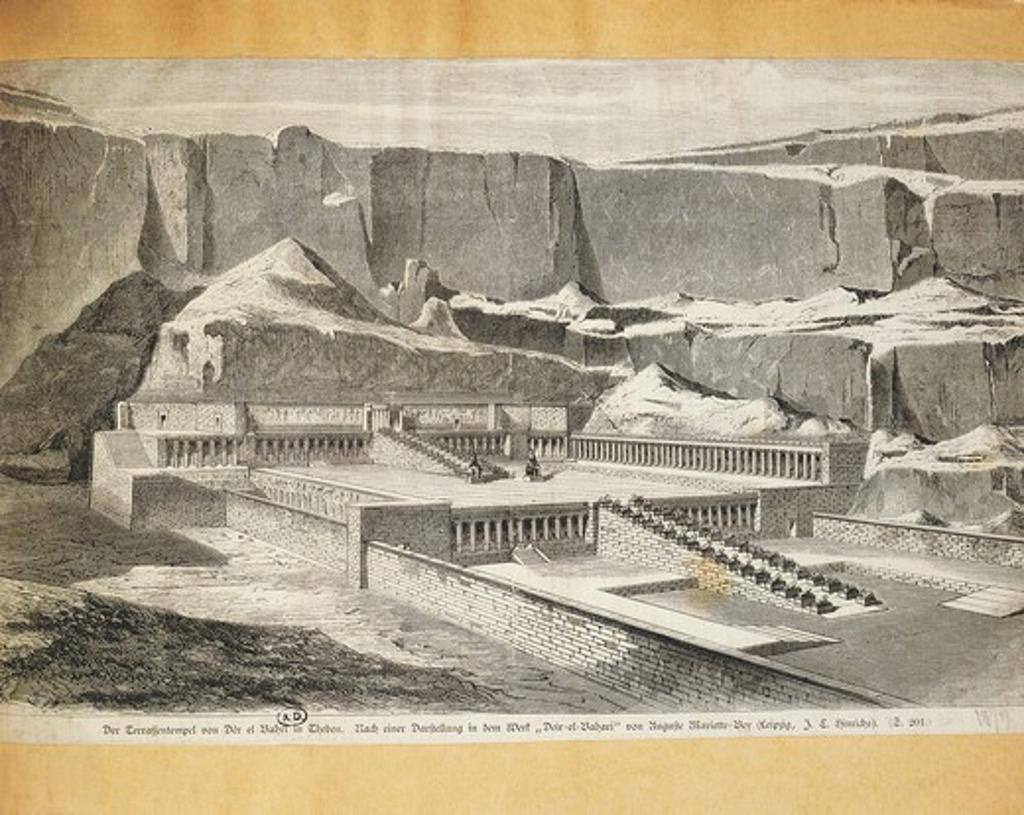 Egypt, Deir el-Bahari, terraces of temple, engraving by Auguste Mariette, 1879 : Stock Photo