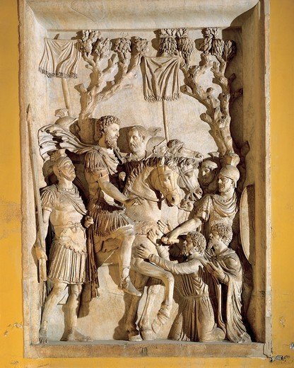 Relief representing Marcus Aurelius on horseback meeting defeated barbarians, 176-180 A.D. : Stock Photo
