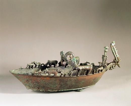 Bronze boat with animals, from the Tomb of the Duce of Vetulonia : Stock Photo