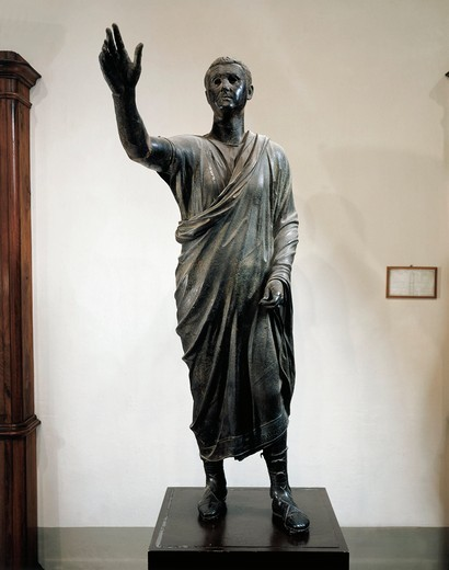 Bronze statue of orator (Arringatore), from Pila, Perugia, Italy, circa 80 B.C. : Stock Photo