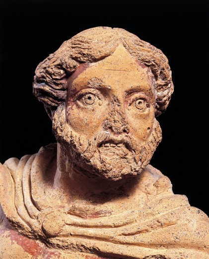 Stock Photo: 1788-18105 Bearded male figure, from the Temple of the Belvedere of Orvieto, Terni province, Italy, detail
