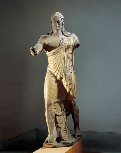 Terracotta statue of Apollo, from the Temple of Portonaccio at Veio, Italy : Stock Photo