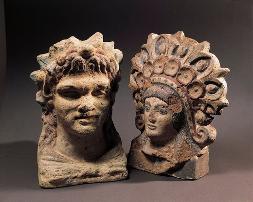 Antefixes in the shape of female and male head, from Cerveteri, Rome province, Italy : Stock Photo