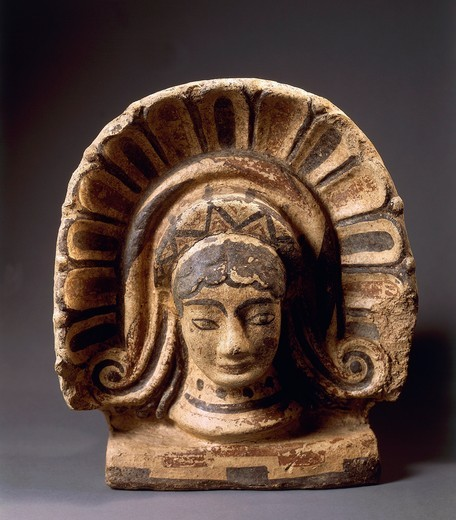 Antefix in the shape of female head, from Cerveteri, Rome province, Italy : Stock Photo
