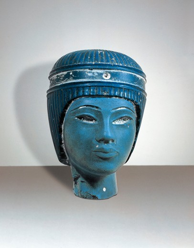 Stock Photo: 1788-18116 Blue vitreous paste head of a king, probably Tutankhamen