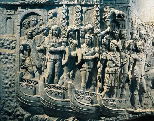 Cast of Trajan's Column, Detail of embarking of Legions to Dacian War : Stock Photo