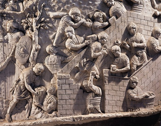 Cast of Trajan's Column, Detail of soldiers building fortifications in Dacia : Stock Photo