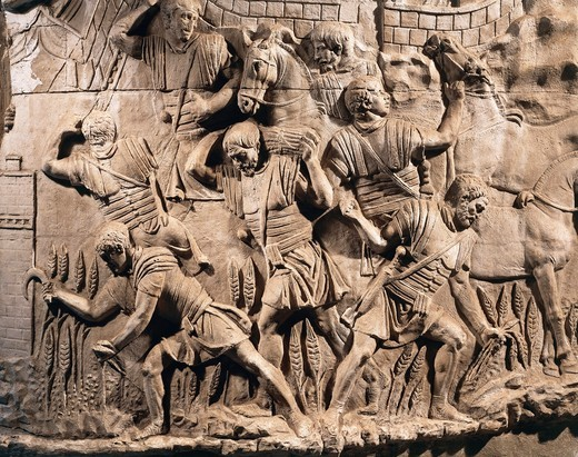 Stock Photo: 1788-18212 Cast of Trajan's Column, Detail of soldiers harvesting wheat in Dacia