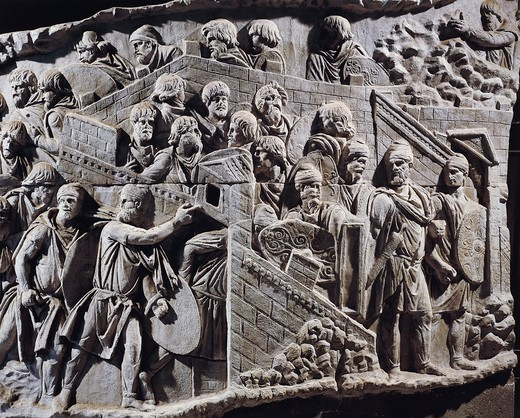 Stock Photo: 1788-18214 Cast of Trajan's Column, Detail of Decebalus, king of Dacians, gathering people inside fortifications