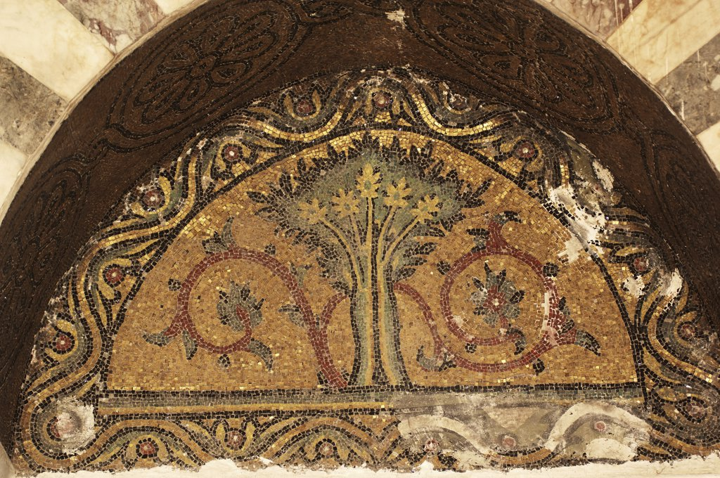 Syria - Damascus. Ancient city. UNESCO World Heritage List, 1979. Mamluk Sultan Baybars Memorial, 13th century. Mosaic ornamentation of lunette : Stock Photo