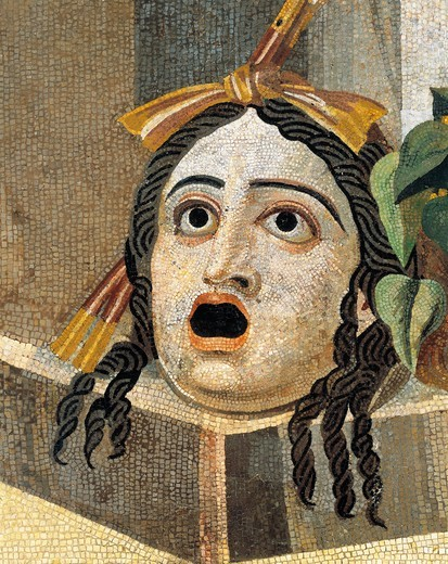 Mosaic depicting theatrical mask, from Rome : Stock Photo