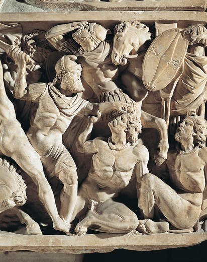 Marble sarcophagus known as Amendola sarcophagus with battle scenes between Romans and Barbarians : Stock Photo