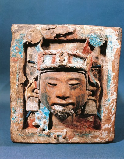 Stock Photo: 1788-18503 Plate depicting god of earth and spring, known as Xipe Totec, our lord the flayed one