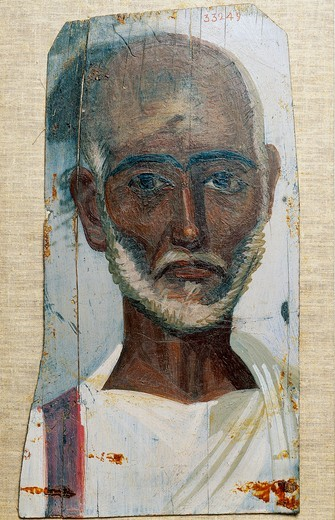 Portrait of senior man, tempera on wood, from El Fayum : Stock Photo
