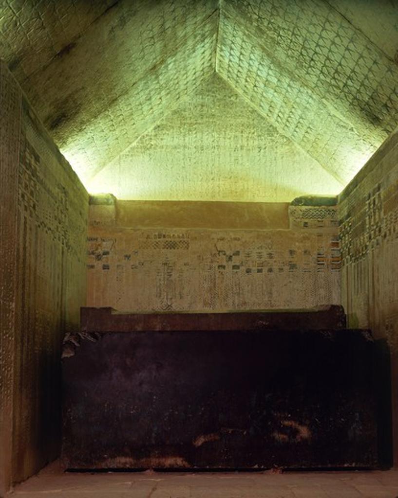 Egypt, Cairo, Mit Rahina, Saqqara Necropolis, decorated burial chamber in Unas' pyramid at ancient Memphis : Stock Photo