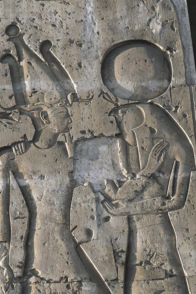 Egypt - Abydos (Abido). Mortuary temple of Seti I, 1306-1290 BC. Reliefs : Stock Photo