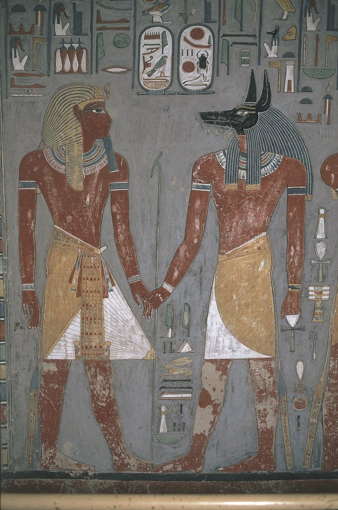 Stock Photo: 1788-1853 Egypt - Ancient Thebes (UNESCO World Heritage List, 1979). Valley of the Kings. Tomb of Horemheb, 1319-1307 BC. Painted relief