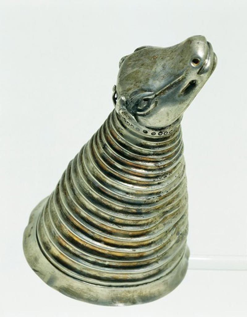Silver rhyton silver in shape of ox-head, from Qasr-i Shirin, Iran : Stock Photo