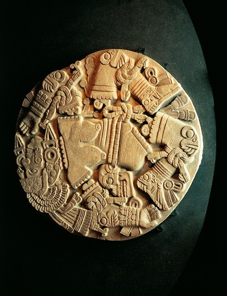 Stock Photo: 1788-18563 Circular stone monolith representing Coyolxauhqui, sister of Huitzilipochtli