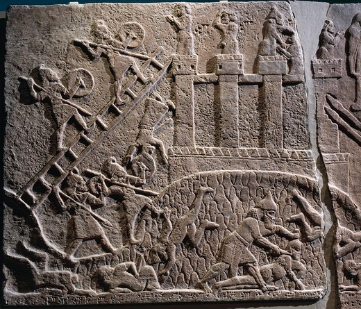 Stock Photo: 1788-18573 Relief of attack on enemy village, from Nimrud, Iraq