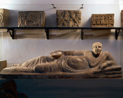 Alabaster funerary sculpture known as Sarcophagus of Obese Man, from Chiusi, Siena province, Italy : Stock Photo