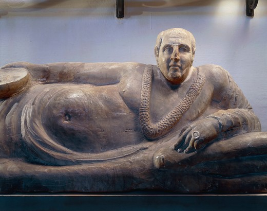 Stock Photo: 1788-18597 Alabaster funerary sculpture known as Sarcophagus of Obese Man, from Chiusi, Siena province, Italy