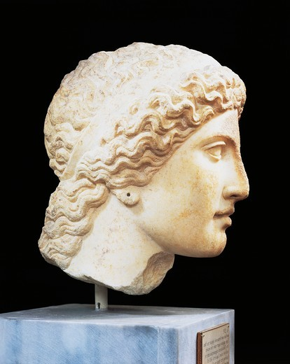 Stock Photo: 1788-18643 Greece, Argolis, Heraion of Argos, Marble Head of Hera, attributed to the School of Polykleitos