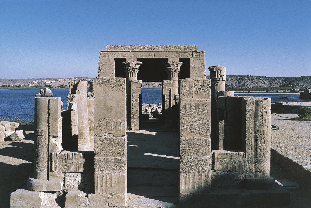 Egypt - Nubian monuments at Philae (UNESCO World Heritage List, 1979). Dedicated to goddess Hathor Temple of Nefertari : Stock Photo
