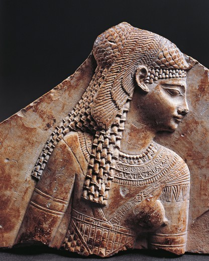Bas relief fragment portraying Cleopatra : Stock Photo