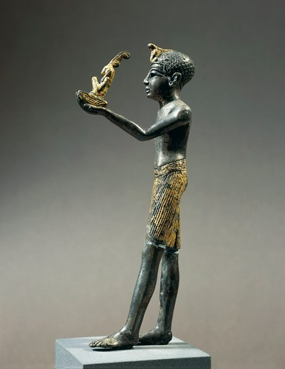 Stock Photo: 1788-18699 Gold-plated silver statuette of Ramesside king offering Maat, goddess of truth and order of world