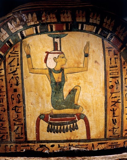 Stock Photo: 1788-18730 Cartonnage of the mummy of the priest of Montu, Nes-peka-shuty, detail with Isis, goddess of resurrection of Osiris